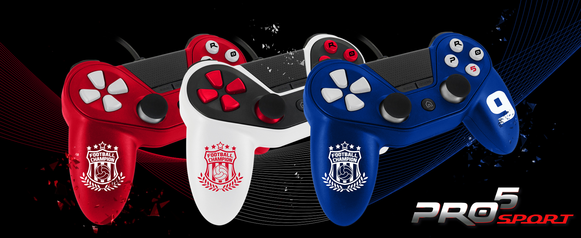 Pro5 Controller Sport, the first soccer controller compatible with PS4 - Playstation 4. A unique and innovative design for high performance and a perfect grip controller.