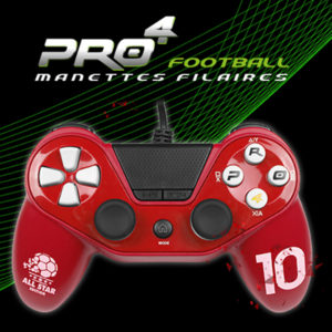 Manette pro4 football rouge